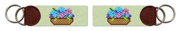 Basket Of Hydrangeas Needlepoint Key Fob