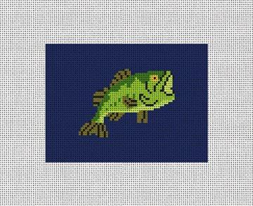 Big Mouth Bass Fishing Needlepoint Card Wallet Kit