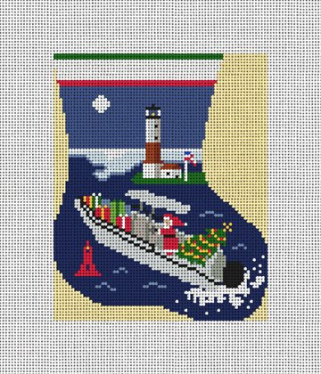 Boating Mini Stocking Ornament Needlepoint Canvas