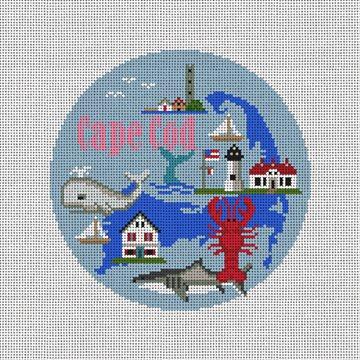 Cape Cod Travel Round Needlepoint Ornament Kit