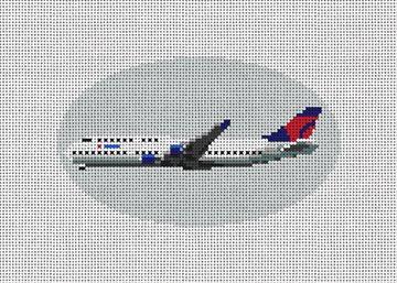 Delta Airplane Needlepoint Ornament Kit