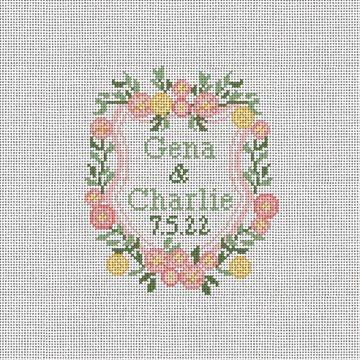 Floral Posies Wedding Needlepoint Ornament Kit