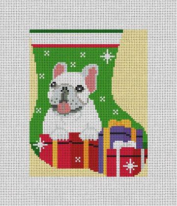 Frenchie Mini Stocking Ornament Needlepoint Canvas
