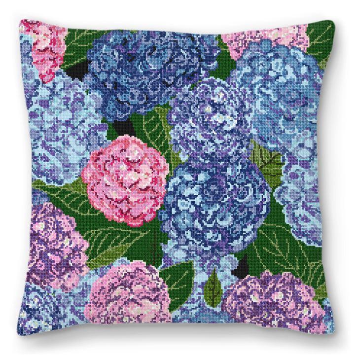 Heavenly Hydrangeas Needlepoint Pillow