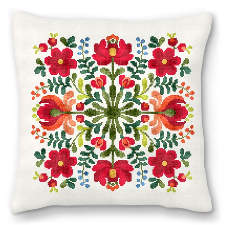 Hungarian Floral Design Needlepoint Pillow
