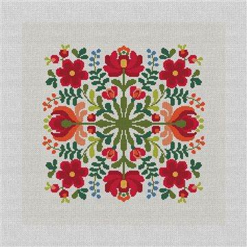 Hungarian Floral Design Needlepoint Pillow Kit