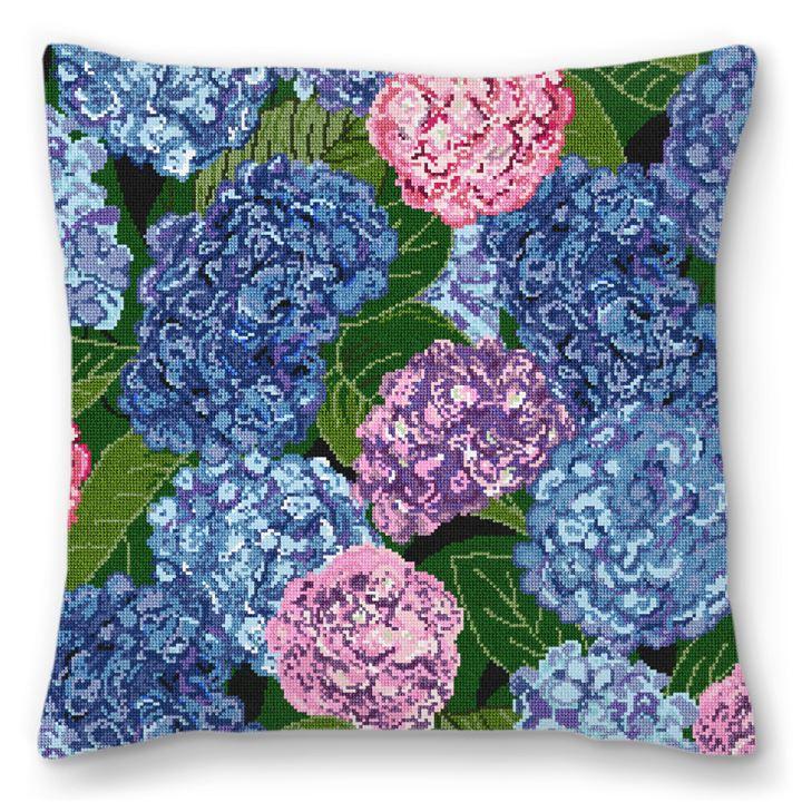 Hydrangeas Deux Needlepoint Pillow
