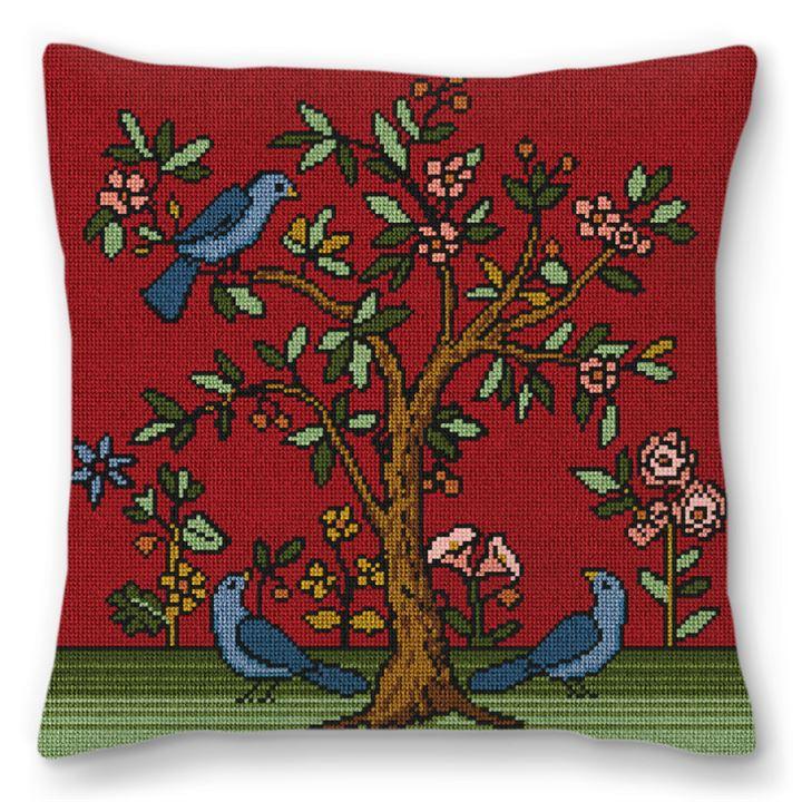 Living Tree Bordeaux Needlepoint Pillow