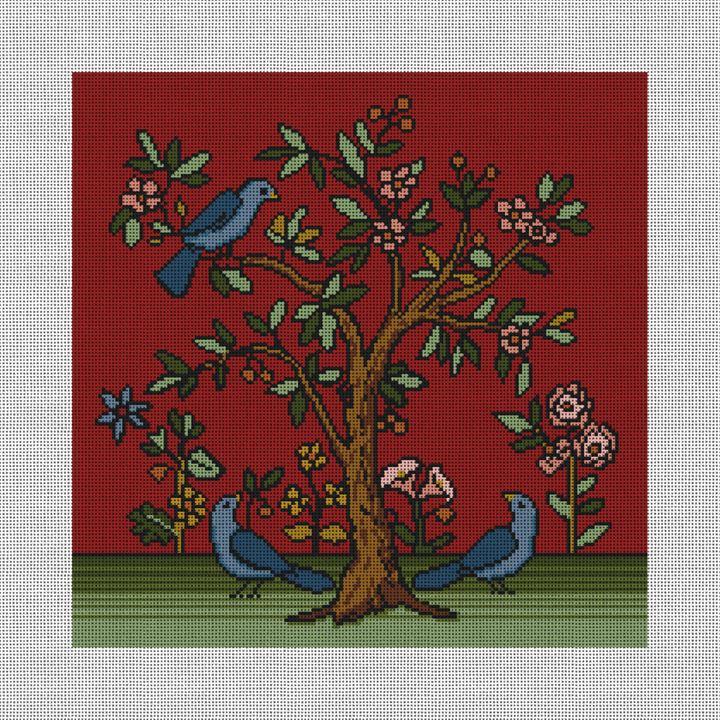 Living Tree Bordeaux Needlepoint Pillow Canvas