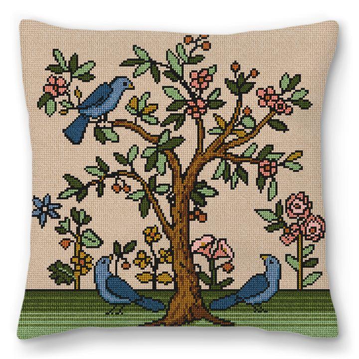 Living Tree Khaki Needlepoint Pillow