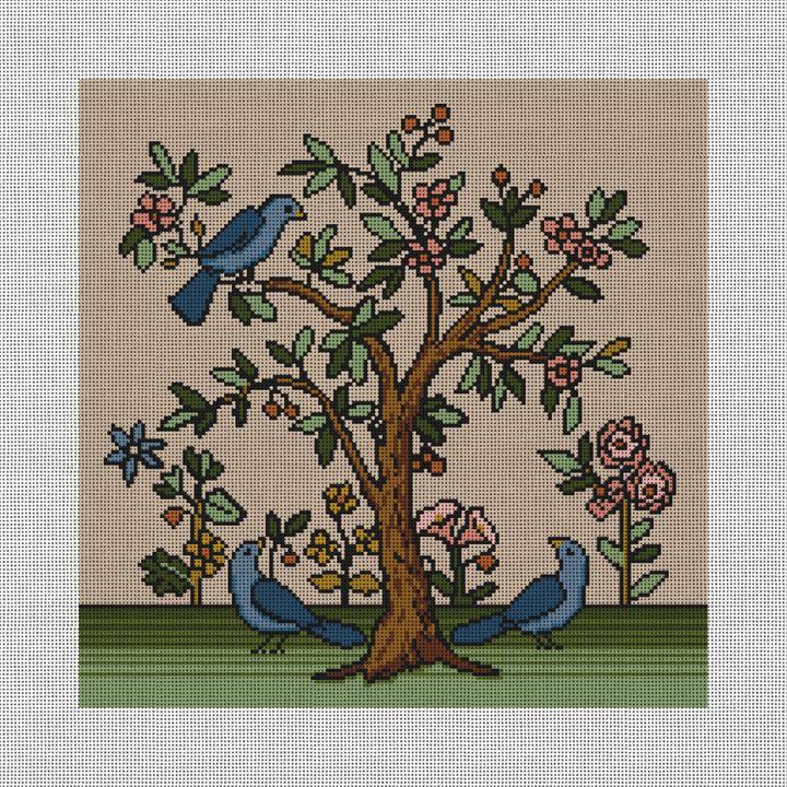 Living Tree Needlepoint Pillow Canvas