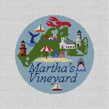 Martha's Vineyard Travel Round Needlepoint Kit