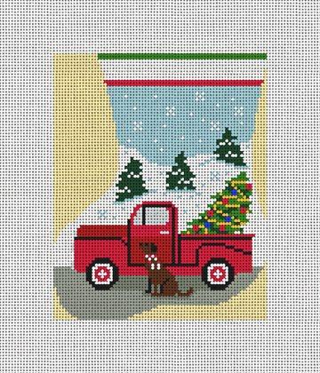 My Truck Mini Stocking Ornament Needlepoint Canvas
