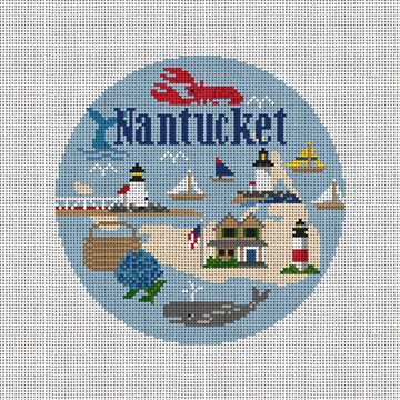 Nantucket Travel Round Needlepoint Ornament Kit