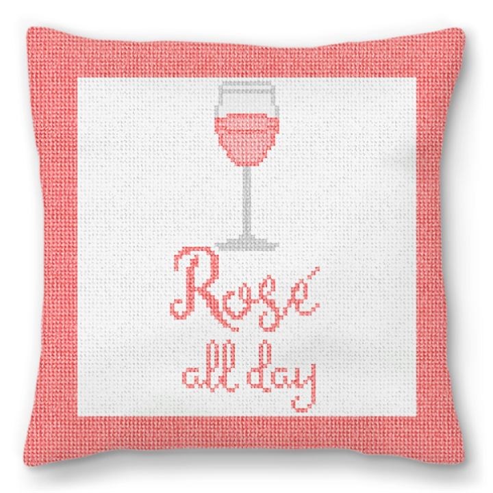 Rosé All Day Needlepoint Pillow