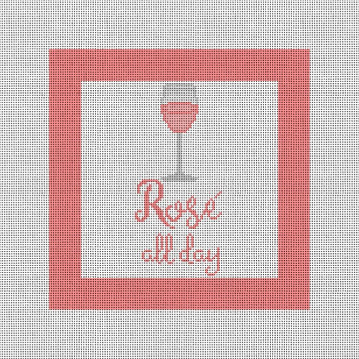 Rosé All Day Needlepoint Pillow Kit