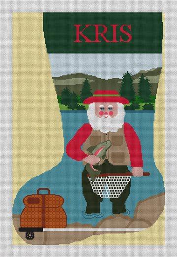 Santa's Big Catch Needlepoint Stocking Kit