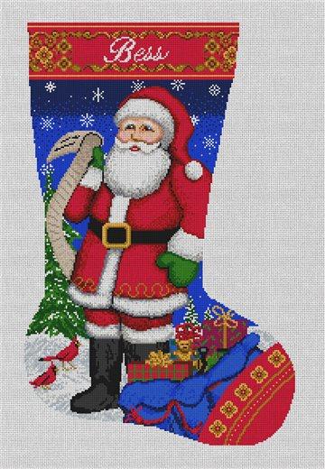 Santa's List Stocking Needlepoint Canvas