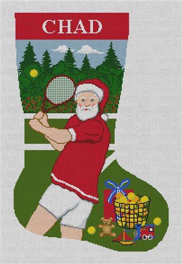 Santa's Tennis Match Needlepoint Stocking Kit