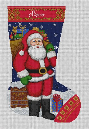 St. Nick's Delivery Stocking Needlepoint Canvas