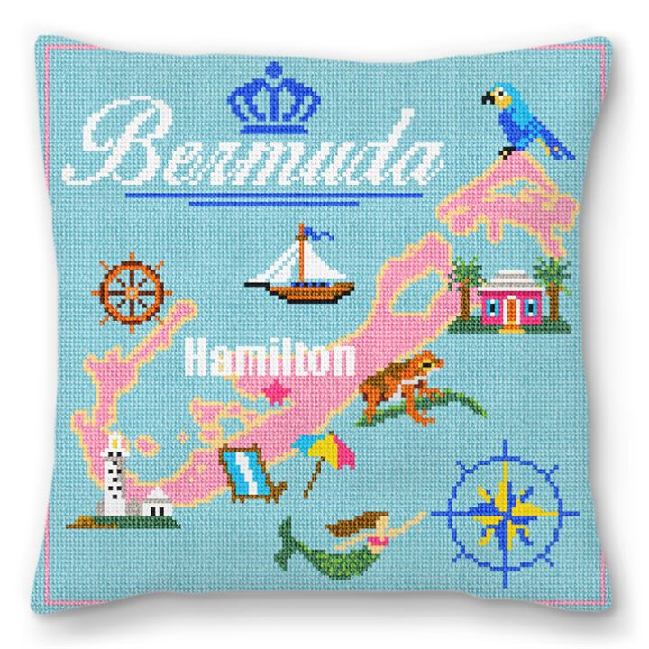 Sunny Bermuda Needlepoint Pillow