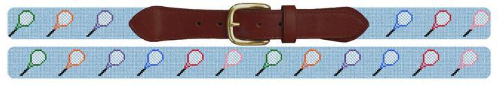 Tennis Rackets Needlepoint Belt