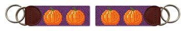 Tiny Pumpkins Halloween Needlepoint Key Fob