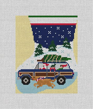 Wagoneer Mini Stocking Ornament Needlepoint Canvas